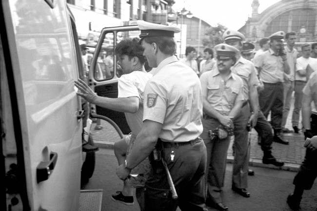 Soccer - European Championships 1988 - West Germany An England fan is loaded into the back of a police van after an outbreak of violence in the streets of Frankfurt the day after England were knocked out of the tournament Date: 19/06/1988