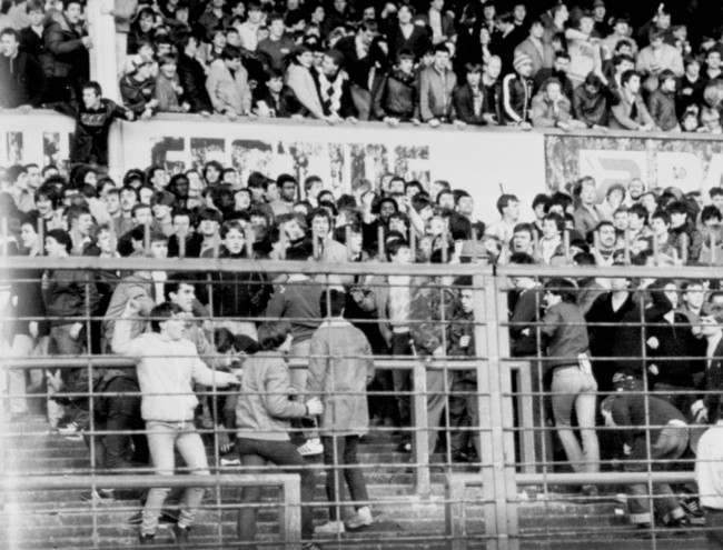 Soccer - FA Cup - Fourth Round - Derby County v Chelsea - Baseball Ground Confusion reigns in the away end as Chelsea fans hurl missiles at the police Date: 29/01/1983