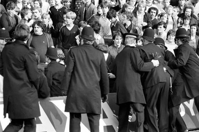 Soccer - Football League Division Two - Chelsea v Leeds United - Stamford Bridge Police move in to quell crowd trouble Date: 09/10/1982