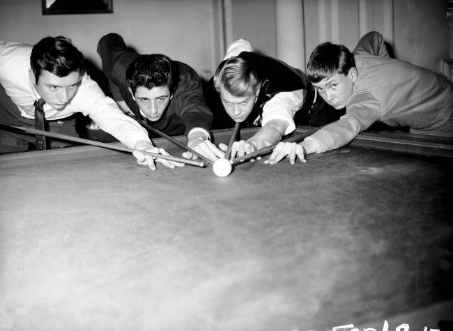 Snooker - Youth Championship (L-R) John Virgo, JC Clusker, Richard Revill and Martin Taylor cue up Ref #: PA.485603  Date: 07/12/1964