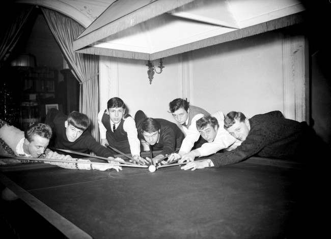 Snooker - Youth Championship (L-R) David Bodill, Peter Braeley, George Seaborne, W Thorndycraft, John Virgo, Derek Wells and F Cleary cue up Ref #: PA.485604