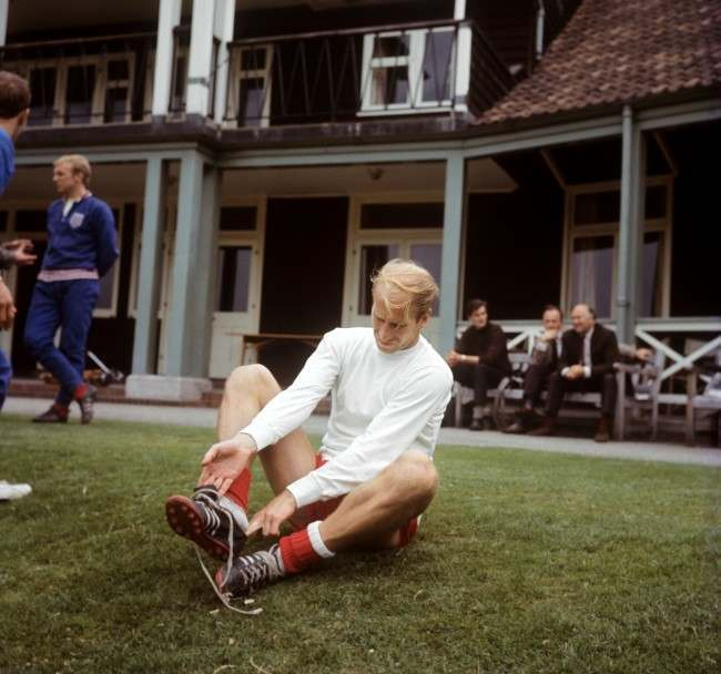 England's Bobby Charlton preparing for a World Cup training session at Roehampton, London Archive-900-74 Ref #: PA.5136488  Date: 29/07/1966