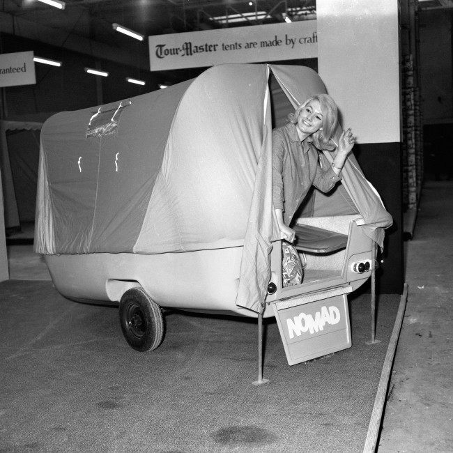 A Nomad Tourmaster tent at the Camping and Outdoor Life Exhibition, Olympia. Ref #: PA.6378536  Date: 08/01/1963