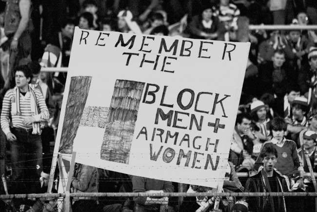 Soccer - World Cup Qualifier - Group Two - Belgium v Ireland Ireland fans hold up a banner reminding people of the hunger-striking Republican prisoners in H Block of Maze Prison Date: 25/03/1981