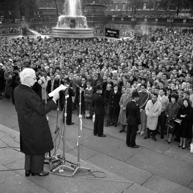 Earl Russell speaking from the plinth of Nelson's Column in Trafalgar Square at a protest meeting organised by The Committee of 100, the anti-bomb organisation. Ref #: PA.6739959 Date: 29/10/1961