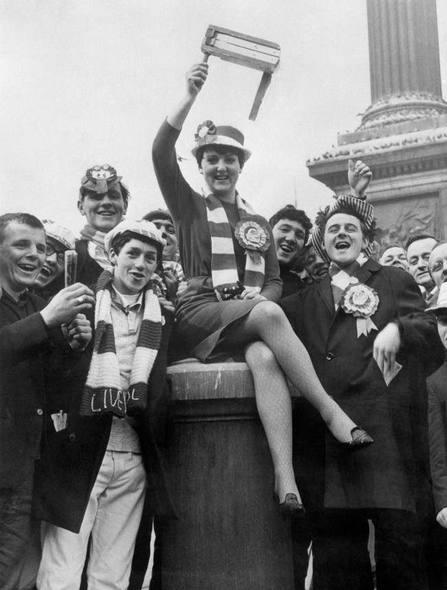Christine Rice, 18, leads Liverpool supporters in pre-Wembley jubilation in Trafalgar Square, London.