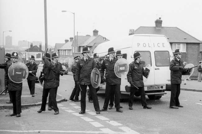 Soccer - FA Cup - 5th Round - Birmingham City v Nottingham Forest - St Andrews Riot police at the ready to stamp out any trouble. Trouble flared between rivals fans on wasteland near the ground. Date: 20/02/1988