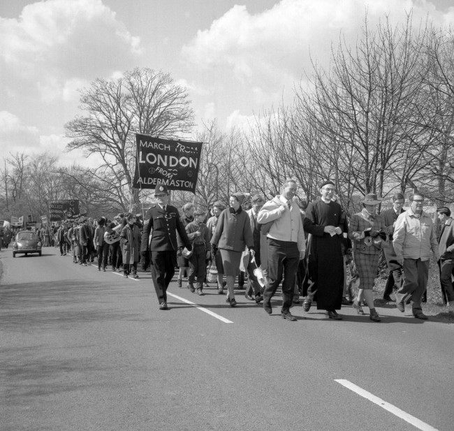 Left to right, Anthony Greenwood, Labour MP for Rossdale; Canon John Collins, the CND's chairman; Jacquetta Hawkes, wife of author J.B Priestley and Professor R. Calder, the science journalist, during the march. Ref #: PA.8520259  Date: 15/04/1963