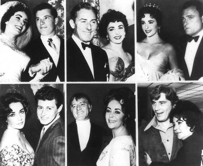 Actress Elizabeth Taylor, who turns 50 Saturday, Febr. 27, 1982, is shown through the years with her six husbands. Top row, from left: Conrad Hilton Jr. in 1950; actor Michael Wilding in 1951; producer Mike Todd in 1957; Bottom row, from left: singer Eddie Fisher in 1959; actor Richard Burton in 1972 and John Warner in 1976.