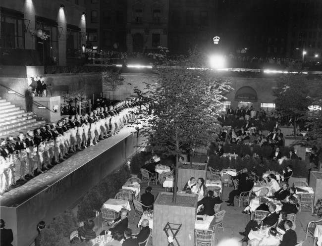 The Radio City Rockettes perform during opening night of the outdoor restaurant at the central sunken plaza at New York City's Rockefeller Center, June 17, 1936.