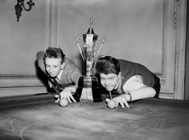 nooker - Harry Young Boy's Snooker Championship - London The two finalists with the trophy before starting the final. David Trevelyen (14) of Nottingham (Left) and David Bend (15) of Nuneaton (Right). Ref #: PA.9305425  Date: 12/04/1958