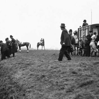 1930 Grand National: Jockey G Goswell Is Helped To An Ambulance As His May King Flounders In The Beecher's Brook Ditch