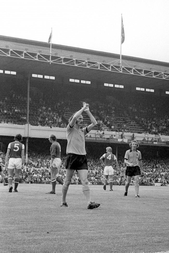 Derek Dougan celebrates after scoring against Arsenal.