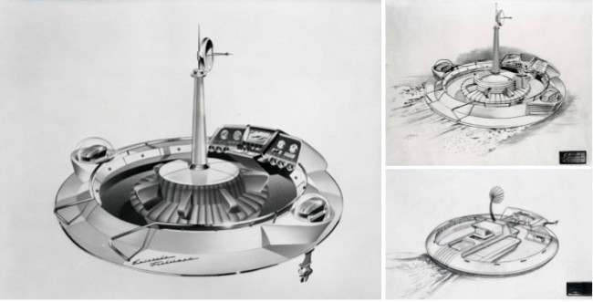 The Evinrude Fishing Saucer concept boat designed by Brooks Stevens and made for the 1957 New York Boat Show, found on 1