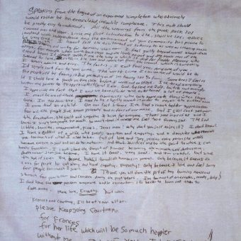 Courtney Love Reads Kurt Cobain's Handwritten Suicide Note (1994)