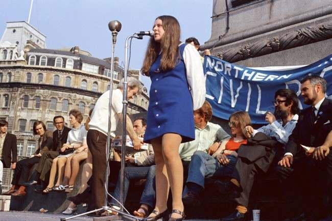 Bernadette Devlin, 24-year-old member of Parliament for Mid-Ulster, who has announced that she is soon to have a baby, addresses a political protest meeting in London's Trafalgar Square by the Northern Ireland Civil Rights Movement, July 11, 1971.