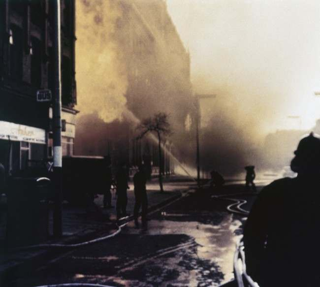 A factory building on fire in Belfast, Northern Ireland in 1971.