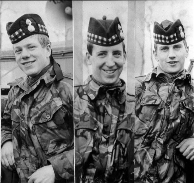 Photographs of the three British soldiers killed in an ambush in Ligoniel on the outskirts of Belfast. They are John McCraig 17 (L) his brother Joseph, 18 (R) and Dougald McCaughy,23. Date: 11/03/1971