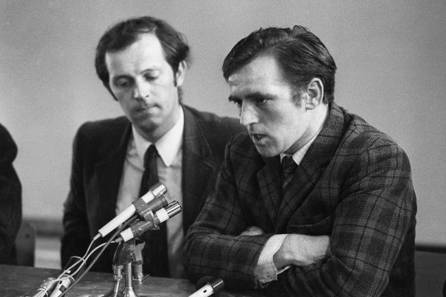 Paddy Kennedy (l), a Republican MP at Stormont, and John Kelly during a Press conference held in a school gymnasium in Belfast's Ballymurphy district and is attended by several leading members of the Republican movement. The conference - during which an anonymous spokesman of the IRA denied the Army's claims of virtual victory - was arranged by Mr Kennedy, who does not claim IRA membership.