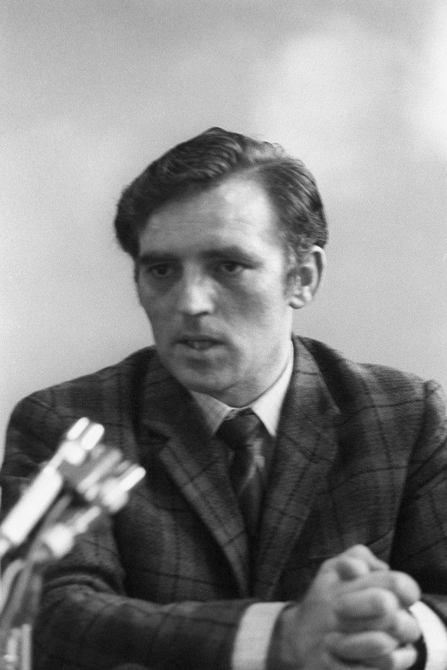 John Kelly, speaking at a Press conference held in a school gymnasium in Belfast's Ballymurphy district and is attended by several leading members of the Republican movement, who heard an anonymous spokesman of the IRA deny the Army's claims of virtual victory. Date: 13/08/1971
