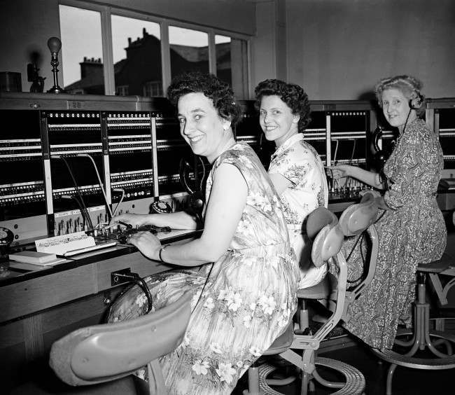 The First telephone Exchange Serving the City - London - 1958 Two of the operators who will work on the switchboards, Miss Joan Marson (left) and Miss Connie Harding (centre) The woman on the right is unidentified. Date: 06/05/1958