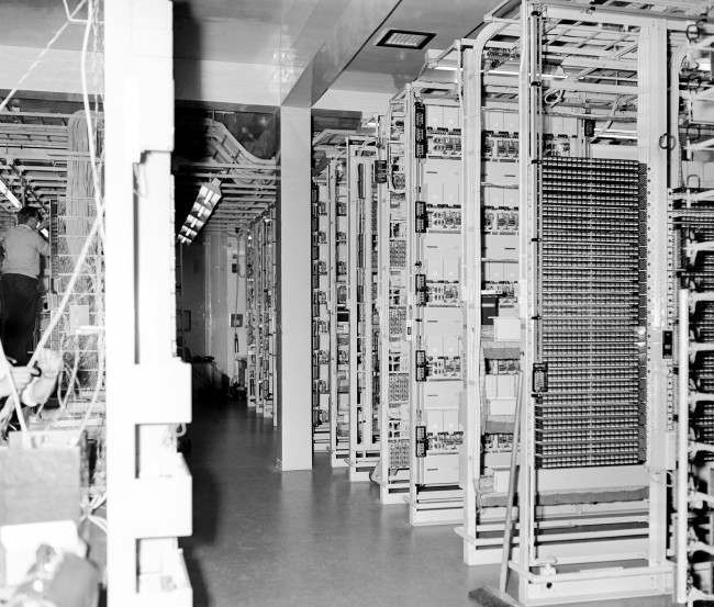 A general view inside the new telephone exchange which will enable subscribers to phone direct to continental countries. Date: 08/09/1965