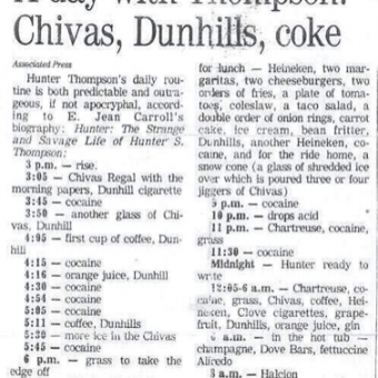 Hunter S Thompson's Daily Diet Regime: Chivas, Dunhill, Cocaine