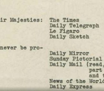 A Telling Memo On British Newspapers For King George VI's 1939 Visit To The USA
