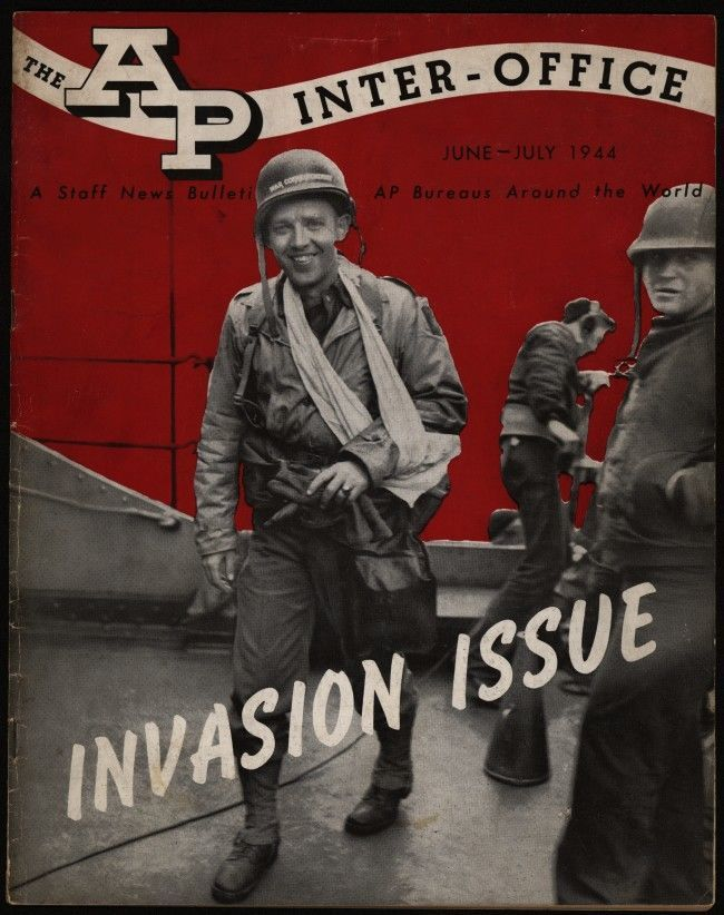 Cover of The AP Inter-Office, a News Bulletin for AP Bureaus Around the World. This issue highlighted AP's coverage of D-Day. Cover image shows Henry P. Jameson, AP's first casualty of the invasion and the first to be injured of the entire press corps. (AP Photo/AP Corporate Archives) Ref #: PA.13929946  Date: 01/06/1944