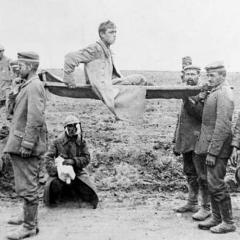 German Prisoners Help French Wounded To Reach Rear Lines On Stretchers During The Great War