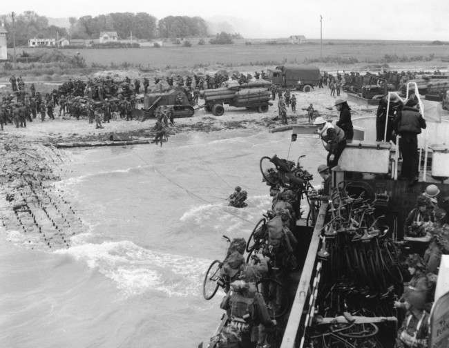 Soldiers of the 2nd Canadian Flotilla are seen as they establish a beachhead code-named Juno Beach, near Bernieres-sur-mer, on the northern coast of France, on June 6, 1944, during the Allied invasion of the Normandy. (AP Photo)