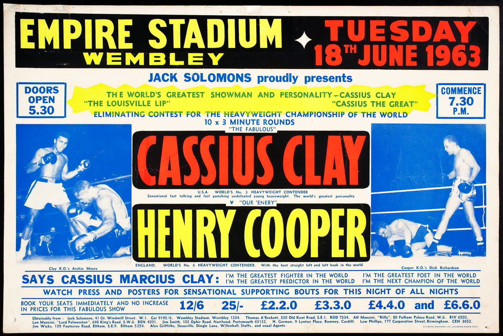 Cassisus Clay:Henry Cooper poster