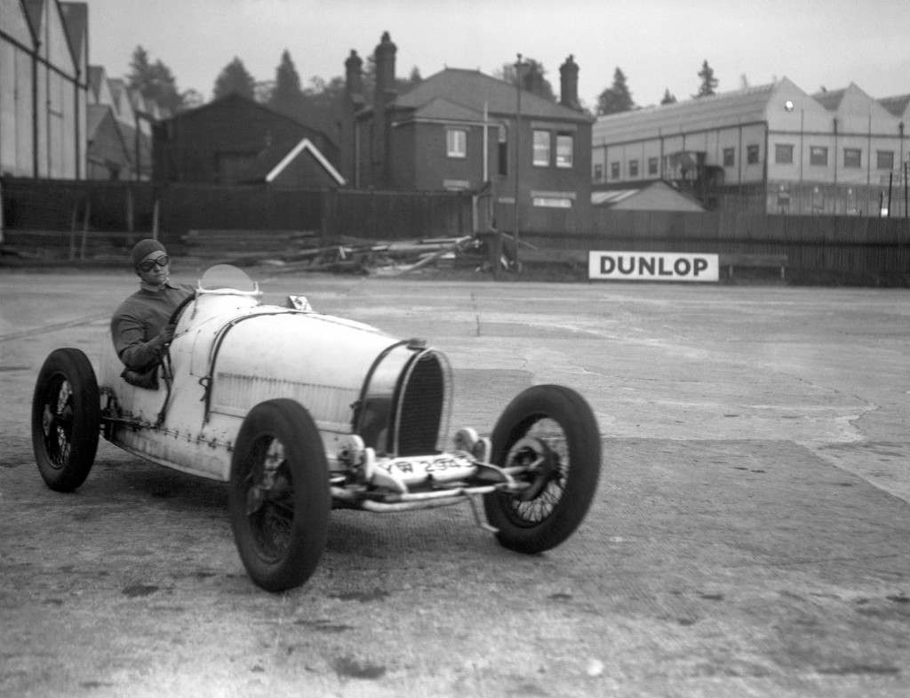 Eileen Ellison in a Bugatti during the 'mountain race' at Brooklands, 1934.