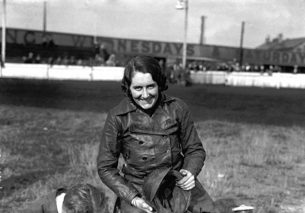 Fay Taylour in 1930. She was born in 1904 in Ireland, and known as 'Flying Fay'. She was a champion speedway rider but switched to racing cars in 1930. She was interned as a fascist during the Second World War (and was said to have had an affair with Oswald Mosley) but after the war continued racing in the UK and America. During the 1950s, she was still racing with a 500 cc Cooper at major British circuits like Brands Hatch and Silverstone and competing against a new generation of young drivers including Stirling Moss and Peter Collins.