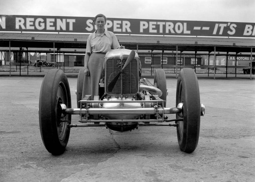 Gwenda Stewart in 1935. She took the ultimate Ladies Outer Circuit lap record at 135.95 mph.