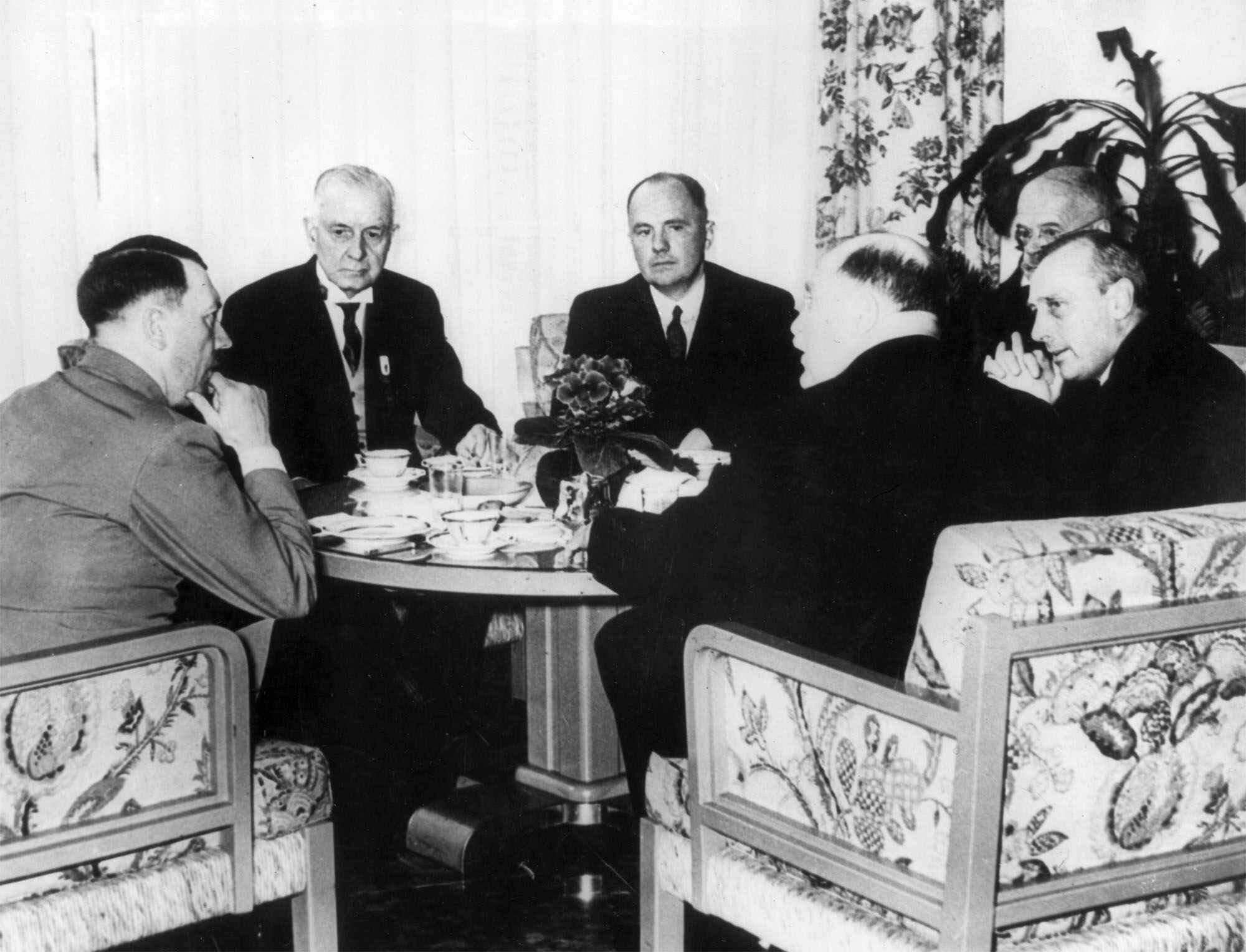 Thomas J. Watson, head of IBM and president of the International Chamber of Commerce and members of the board of the ICC meet with Adolf Hitler at The Reich Chancellory in Berlin, Germany, during the ninth congress of the ICC in this July 12, 1937 photo.