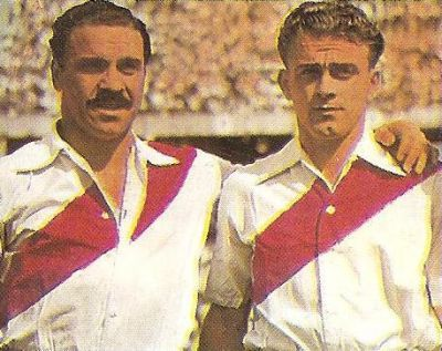Di Stéfano (right) with José Manuel Moreno during his first years in River Plate.
