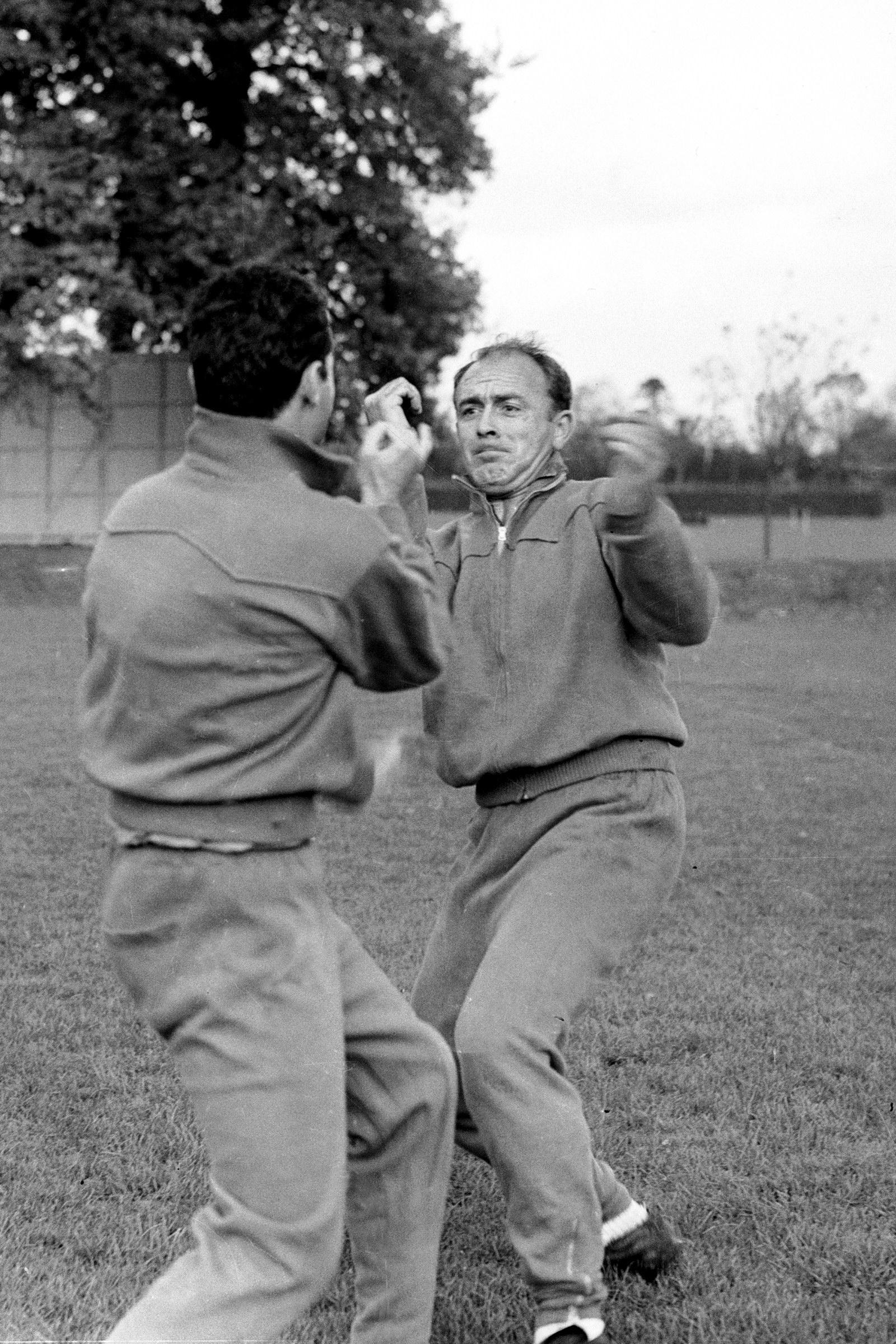 occer - Friendly - England v Spain - Spain Training Spain's Alfredo di Stefano (r) training with his teammates in preparation for the match against England NULL Date: 24/10/1960