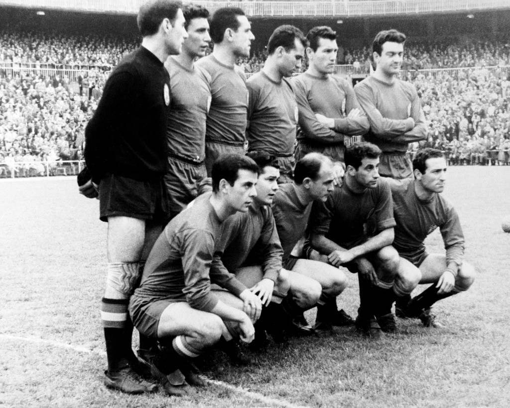Soccer - Friendly - Spain v England. Spain team group: (back row, l-r) Antoni Ramallets, Enrique Pachin, Garay, Gracia, Segarra, Verges; (front row, l-r) Pereda, Martinez, Alfredo Di Stefano, Joaquim Peiro, Francisco Gento