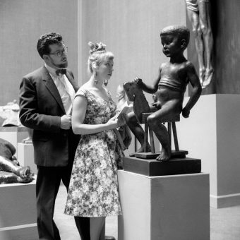 Rolf Harris Studies A 'Nude Boy and Wooden Horse' In 1959