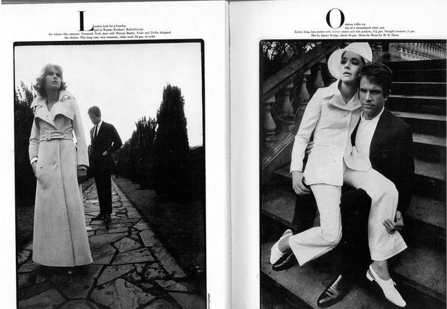 """""""A London look for a London girl"""" Susannah York and Warren Beatty in Vogue, 1966."""