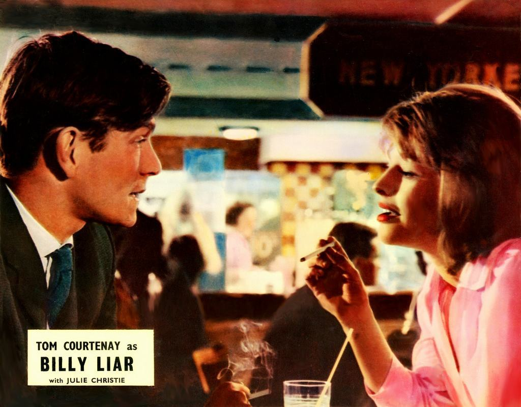 Tom Courtenay and Julie Christie from a Billy Liar promotional Lobby Card.