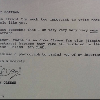 John Cleese Writes To A Monty Python Fan In 1983