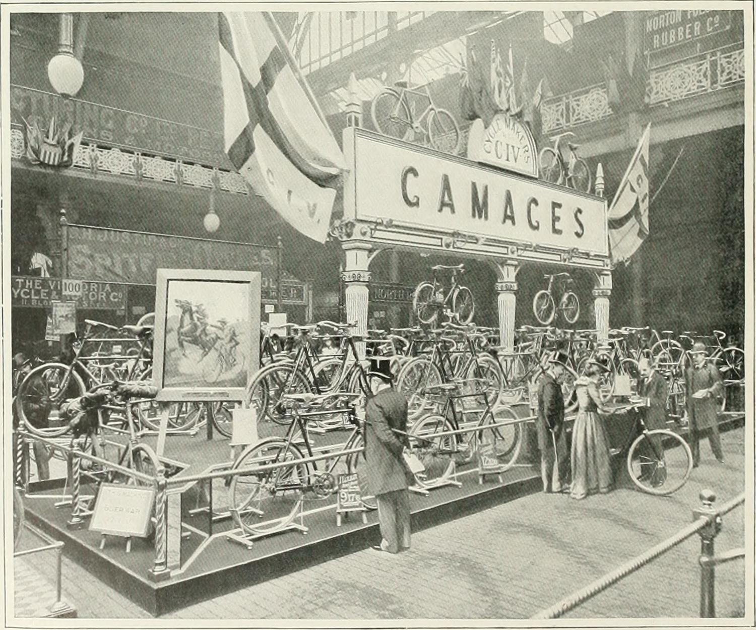A cycle show at Agricultural Hall in Islington. Gamages was a department store in Holborn.