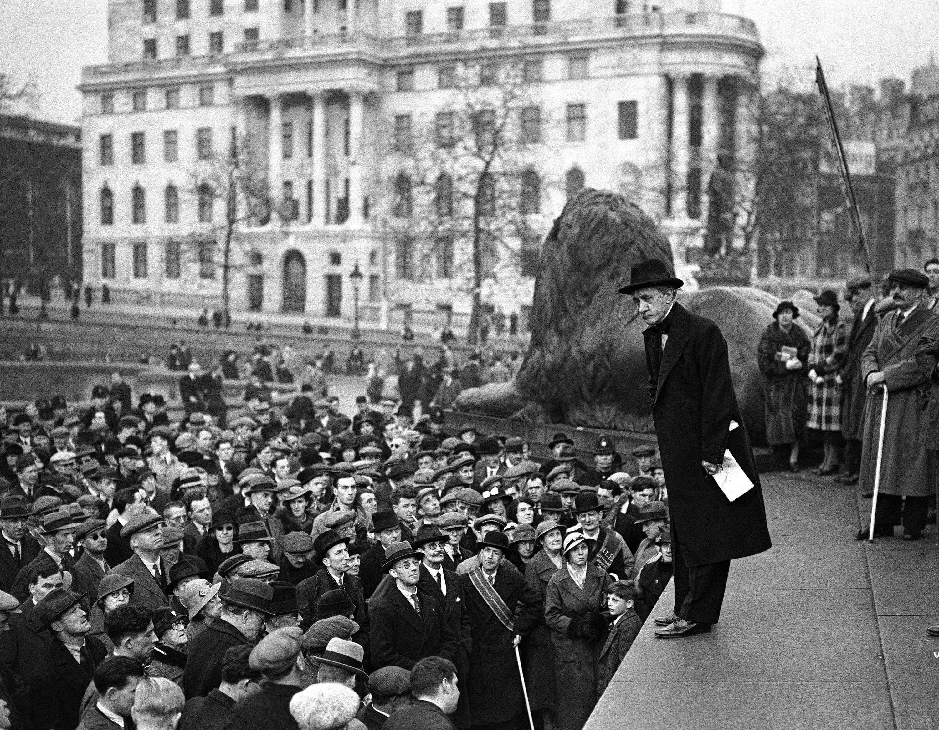 Hannen Swaffer addressing blind marchers from all over London who assembled in Trafalgar Square on Nov. 1, 1936.
