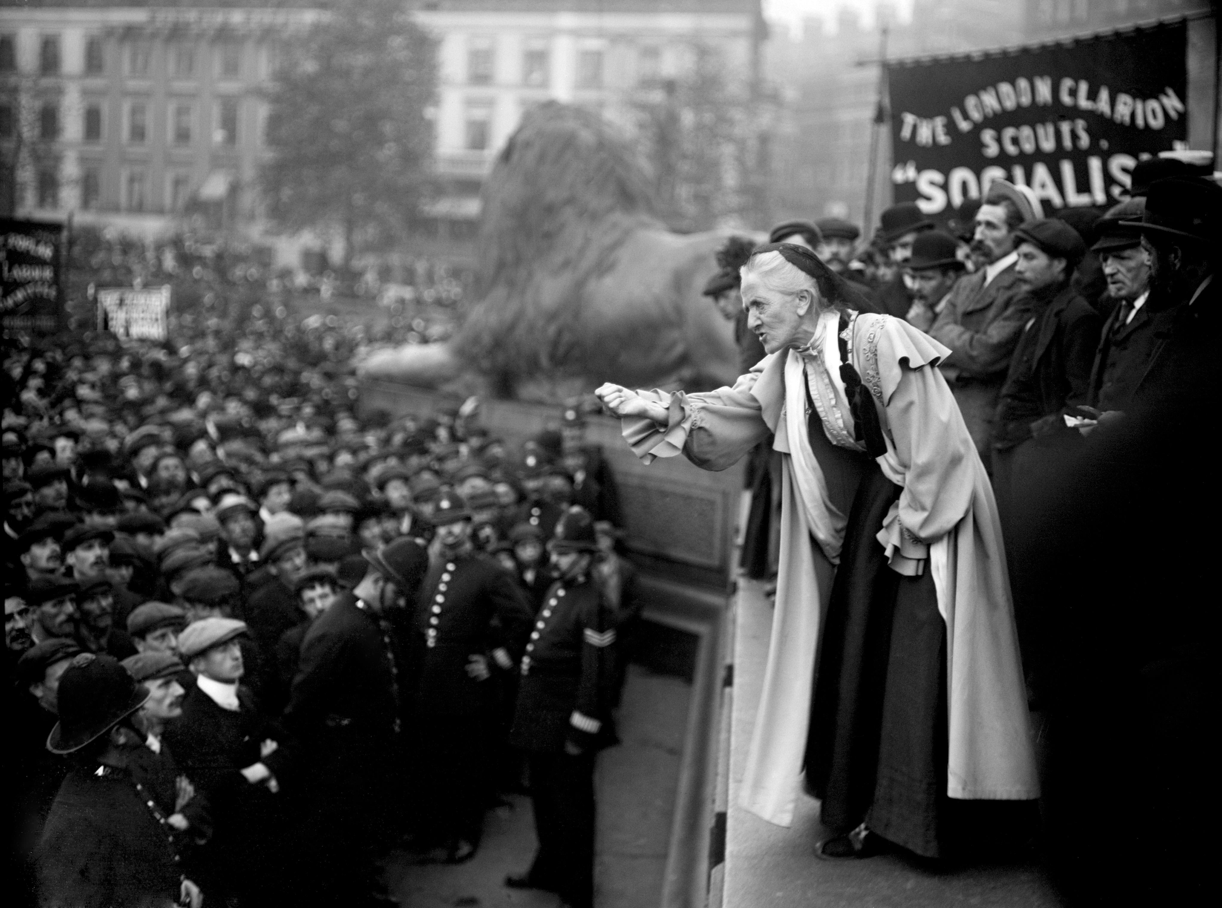 The 66 year old suffragette Charlotte Despard speaks to a crowd in Trafalgar Square. 1910.