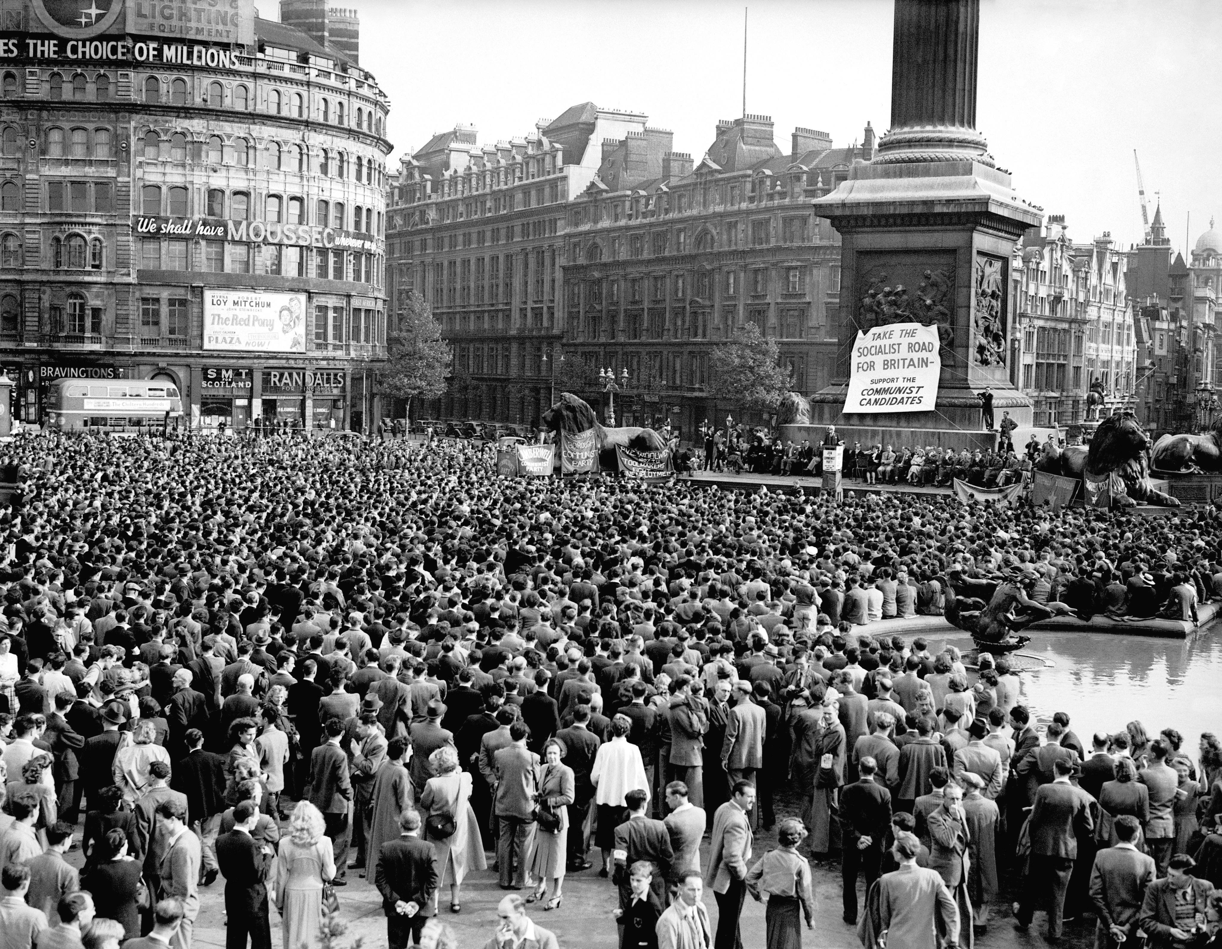 January, 1949: A huge crowd came to see Willie Gallacher, the Communist MP (he remains to this day one of only three Communist MPs elected in the UK without the endorsement of the Labour Party) launching his party's election campaign.