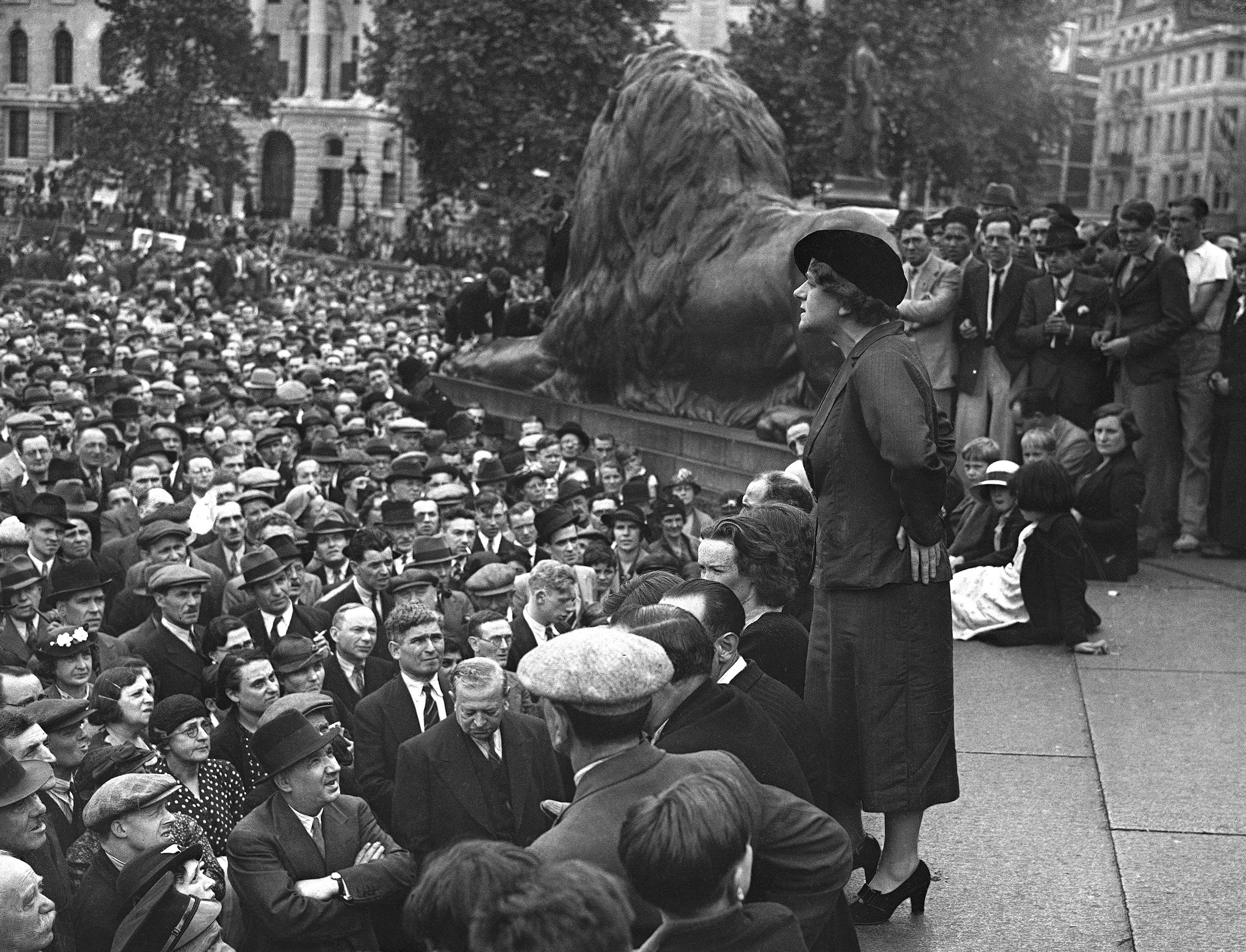 A big demonstration in support of the International Labour Policy on Spain was held in Trafalgar Square on July 11. Miss Ellen Wilkinson, M.P., addressing the huge meeting in Trafalgar Square in London on July 11, 1937.
