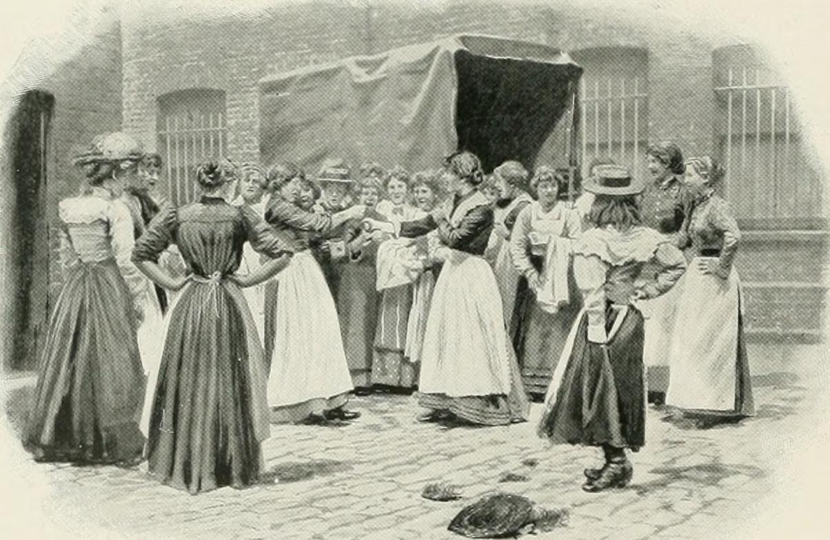 Factory girls fighting in the East End.