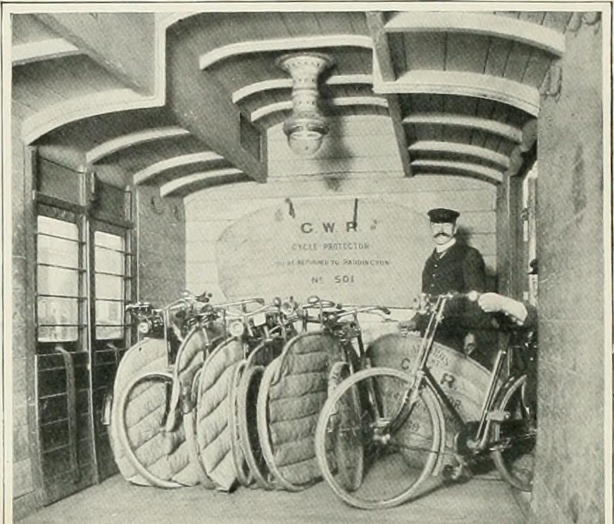 Bicycles looked after on a Great Western Railway train at Paddington.